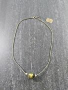 Pretty 18 Green And Gold Foil Art Glass Necklace 14k Clasp And Beads Nwt 1