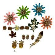Sarah Coventry Jewelry Vintage Lot Brooch Earrings Amber Sunburst Pineapple Pin