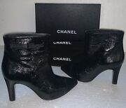 Gabrielle Coco Black Patent Leather Satin Toe And Heel Boots 38 W/box/bags