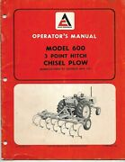 Allis-chalmers Model 600 3 Point Hitch Chisel Plow Operator's Manual