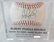 Albert Pujols Autographed Game Used Double Baseball Mlb And Jsa Authand039d