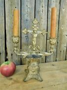 Antique 19th C Holy Water Font Crucifix And Candle Holders Altar
