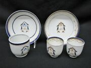 5 Pieces Of 18th Century Chinese Export Porcelain Saucers And Cups W/monogram