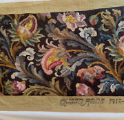 Lrg Hand Made Needlepoint Tapestry Antique Vintage Finished For Bench 53 By 17