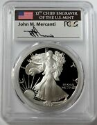 1992 S Silver American Eagle 1 Proof 1 Oz Mercanti Signed Coin Pcgs Pr 70 Dcam