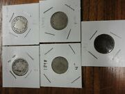 Lot Of Liberty V Nickle's 1896, 1898,1909, 2-1911