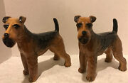 2 Coopercraft Airedale Terrier Porcelain Figurine Made In England 8 Figures