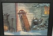 Vintage Michael Humphriesand039 Rustic Cabin With Sled Lithograph Print Wood Frame