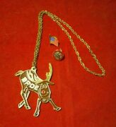 Bpoe Reindeer Gold Finish 24 Chain Necklace Plus Elks Usa And Flag Pins