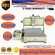 Usb 4 Axis 1500w Engraver 6090 Cnc Router 3d Cutter Mill Vfd Carving Machine Usb
