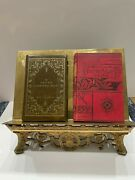 Antique Victorian Gold Tone Brass Writing Easel Desk Ornate Metal Heavy Stand