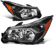 Pair Halogen Headlight Black Housing Left And Right For 2014-2016 Subaru Forester