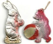 Lot Of 2 Vintage, Antique Dresden Cardboard Xmas Ornaments Rabbit And Circus Bear