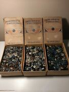 4+ Pounds Vintage Sewing Buttons Permaloid Plastic Assorted In 3 Old Emsig Boxes