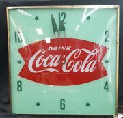 Vintage Coca Cola Bow Tie Style Square Electric Wall Clock
