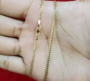 10k Solid Yellow Gold Cuban Curb Link Chain Necklace 2mm 16 18 20 22 24 26