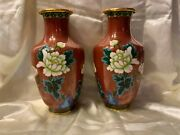 1940 Cloisonné Oriental Vases-pair With Wooden Stands