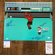 Mike Tyson Charles Martinet Signed Punch Out 16x20 Photo Mario Time' Psa Jsa