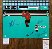 """Mike Tyson Charles Martinet Signed Punch Out 16x20 Photo """"here We Gooo"""" Psa Jsa"""
