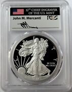 2012 W Silver American Eagle 1 Proof 1 Oz Mercanti Signed Coin Pcgs Pr 70 Dcam