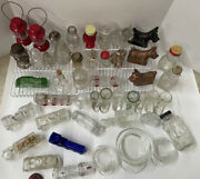 45 Vintage Glass Toy Candy Containers Tank Car Train Fire Engine Hat Dog Lot