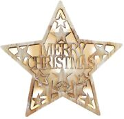 Led Wall / Free Standing Wood Merry Christmas Star Picture With Led Back Lights