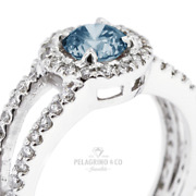 1 3/4ct Blue Si3 Round Earth Mined Certified Diamonds 14k Halo Sidestone Ring