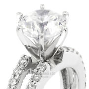 1.33 Carat D-si1 Round Cut Natural Certified Diamonds 14kw Gold Side-stone Ring