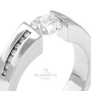 1.47 Ct H-si2 Round Cut Earth Mined Certified Diamonds 18kw Gold Side-stone Ring