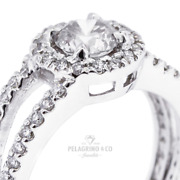 1 1/2ct F Si1 Round Natural Certified Diamonds 18kw Gold Halo Side-stone Ring