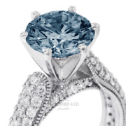 2 1/2ct Blue Si2 Round Earth Mined Certified Diamonds 18k Gold Sidestone Ring