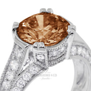2ct Red Si1 Round Natural Certified Diamonds 18k Vintage Style Side-stone Ring