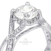 1.38ct F-si1 Round Natural Diamonds 18kw Gold Vintage Style Sidestone Ring