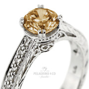 1 1/4ct Brown Si1 Round Natural Diamonds Plat Vintage Style Side-stone Ring