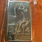 2014 10 Ounce Year Of The Horse Silver Bar.999
