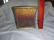 Heavy Stained Glass Tile Mosaic Tissue Box Cover Dark Brown Orange Multicolor