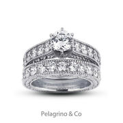 1.86ct H-si1 Round Natural Diamonds 14k Vintage Style Ring With Wedding Band