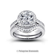 1.30ct G-si1 Round Natural Certified Diamonds 18k Halo Ring With Matching Band