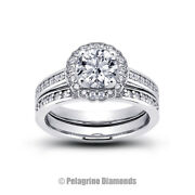 1.13ct G-vs2 Round Natural Certified Diamonds 14k Halo Ring With Matching Band
