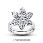 0.91ct G-vs2 Round Natural Certified Diamonds 18k Halo Ring With Matching Band