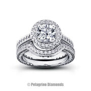 1.14ct F-si1 Round Natural Certified Diamonds 18k Gold Halo Engagement Ring Set