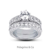 1.15ct D-vs1 Round Natural Diamonds 14k Vintage Style Ring With Wedding Band