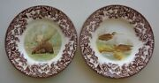 Set Of 2 Spode Woodland Bread Butter Plates Snipe Birds And Majestic Moose 6.25