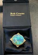 Designer Rob Greene 18k And 22k Gold Large Opal And Diamond Pearl Scenic Ocean