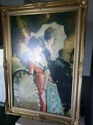 Original Oil Painting On Canvas Two Victorian Ladies Signed Artist