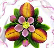 Spectacular James Kontes And Gordon Smith Flower And Peaches Art Glass Paperweight