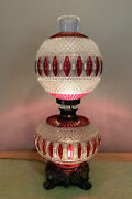 Bohemian Style Ruby Red Glass Gone With The Wind Hurricane Parlor Table Lamp
