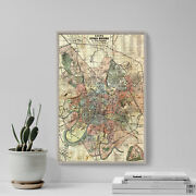Vintage Map Of Moscow From 1917 Print Poster Gift Old Ancient Historic Russia