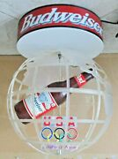 Budweiser Beer 1996 Usa Olympic Globe Rotating Lighted Sign Man Cave Bar Huge