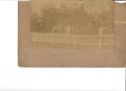 Antique 1800and039s Picket Fence With Ladies And Gentlemen House Cabinet Card